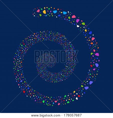 Cloud fireworks whirlpool spiral. Vector illustration style is flat bright multicolored scattered symbols. Object whirlpool constructed from random pictographs.