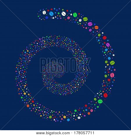 Coffee Bean fireworks swirling spiral. Vector illustration style is flat bright multicolored scattered symbols. Object twirl combined from scattered icons.