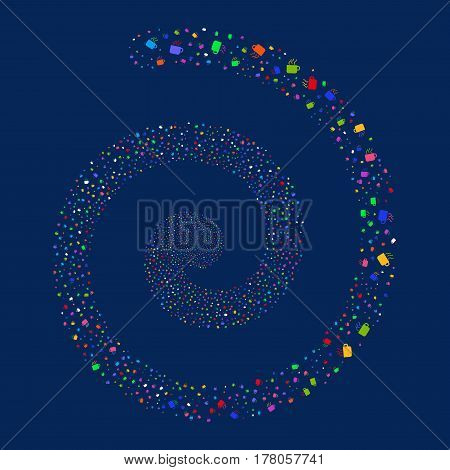 Coffee Cup fireworks vortex spiral. Vector illustration style is flat bright multicolored scattered symbols. Object swirl combined from scattered icons.