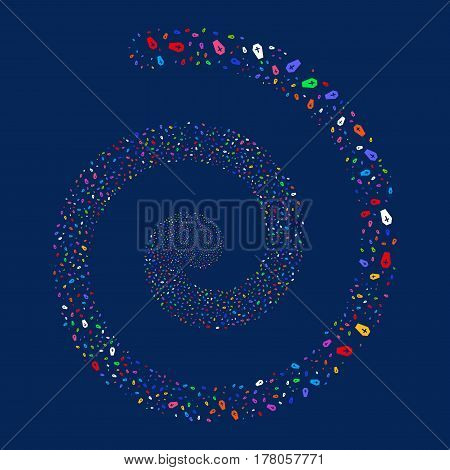 Coffin fireworks vortex spiral. Vector illustration style is flat bright multicolored scattered symbols. Object whirlpool constructed from random symbols.