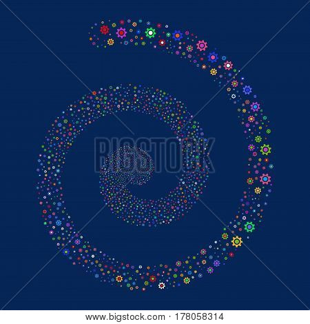 Cogwheel fireworks swirling spiral. Vector illustration style is flat bright multicolored scattered symbols. Object helix constructed from random icons.