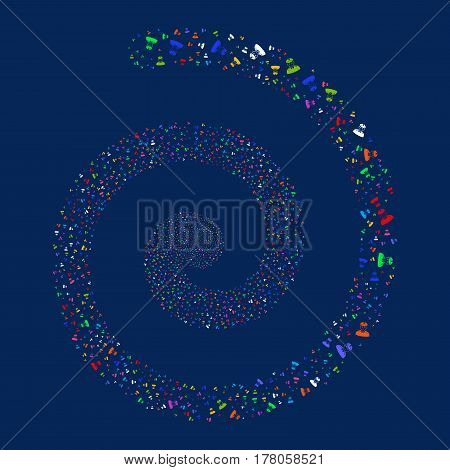 Army General fireworks swirl spiral. Vector illustration style is flat bright multicolored scattered symbols. Object whirlpool done from random pictograms.