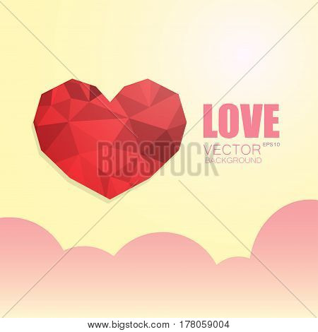 Polygonal heart isolated on beige gradient background with pink clouds and the inscription