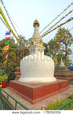 Colorful Shrine in the Swayambhunath Shrine Complex in Kathmandu Nepal