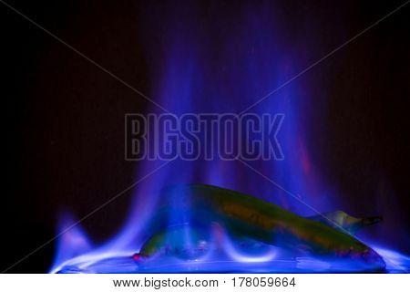 Green jalapeno pepper burn in blue fire