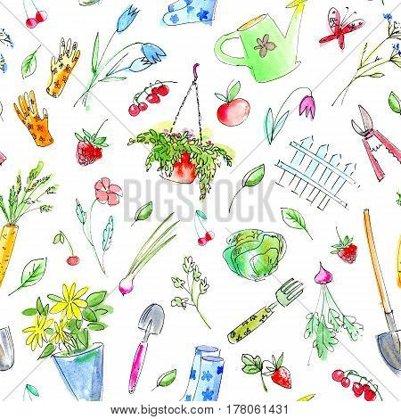 Village image with garden plants and tools seamless pattern.Drawing with berries,flowers,vegetables,watering can,spade,rubber boots,rake,carrots.Watercolor hand drawn illustration.White background.