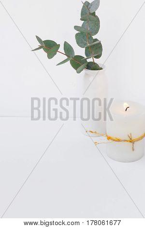 Eucalyptus branch in ceramic vase burning candle on white background styled image for social media blogging product mockup