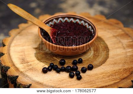 Fresh Toast With Homemade Butter And Blackcurrant Jam On Wooden