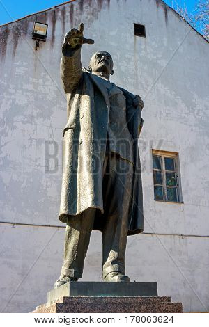 Narva, Estonia - May 4, 2016: The monument to Vladimir Lenin, the leader of the revolution. Earlier it stood at Peter's Square. Now located in the territory of Narva Castle. Estonia.