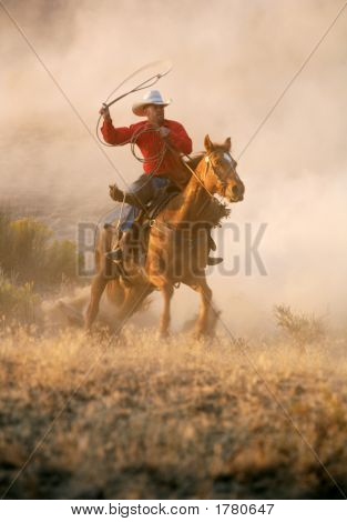 Cowboy On His Horse In Action
