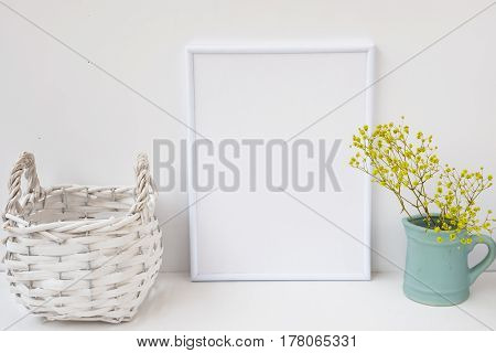 Frame mockup wicker basket pitcher with flowers on white background styled image for product marketing social media blogging feminine