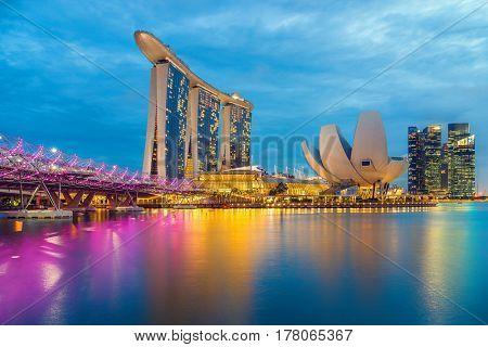 SINGAPORE CITY, SINGAPORE - FEBRUARY 15, 2017:  View Of Marina Bay sands at sunrise. Travel, Singapore on FEBRYARY 15, 2017