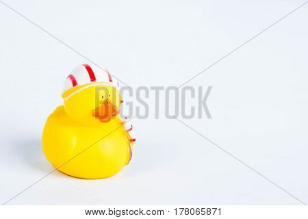Bath duck on white background, duck toy, cute yellow rubber duck
