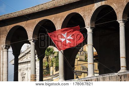 Maltese Cross on Knight of Malta flag in Trajan Forum Rome