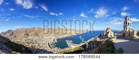 Panoramic view of Pothia Town the capital of Kalymnos Greece from Monastery of Agios Savvas located on top of a hill above Pothia