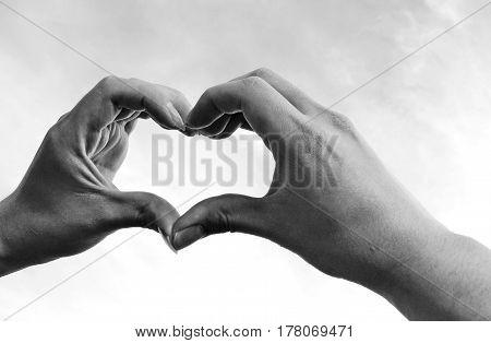 Two hands portraying heart shape symbol in monochorme