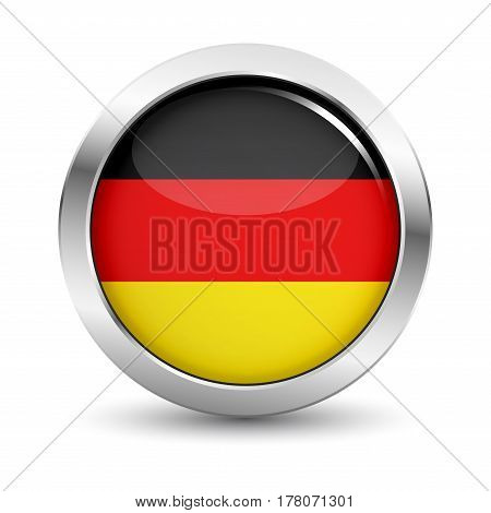Germany icon silver glossy badge button with German flag and shadow vector EPS 10 illustration on white background.