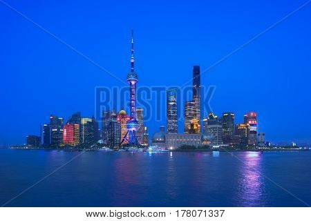View from the bund Shanghai at the blue hour time