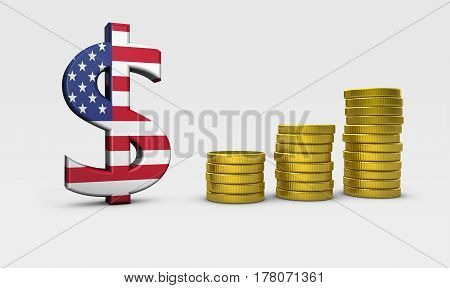 USA economy concept with United States of America flag on dollar icon and golden coins stacks 3D illustration.