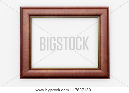 Picture frame with wooden elegant design and blank space for your pictures 3D illustration.