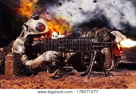 Two crewman of machine gun crew firing in the desert. Explosions fire shrapnel and clouds of black smoke billowing on background, battle in progress