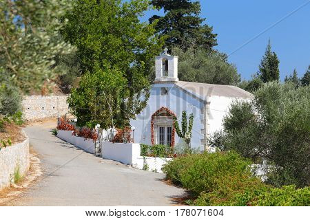 Orthodox church on a lane in Nippos (or Nipos) village, Crete, Greece