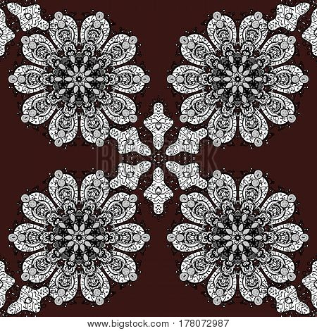 White pattern on brown background with white elements. Seamless white pattern. Vector oriental ornament.