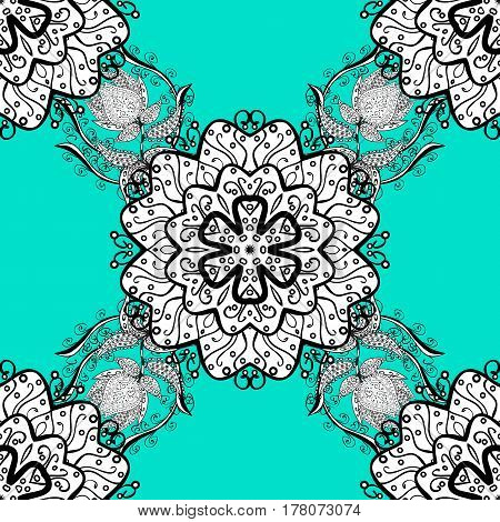 Luxury royal and Victorian concept. Vector vintage baroque floral seamless pattern in white. Ornate decoration. White pattern on a blue background with white elements.