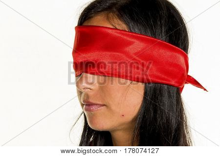 blindfolded woman