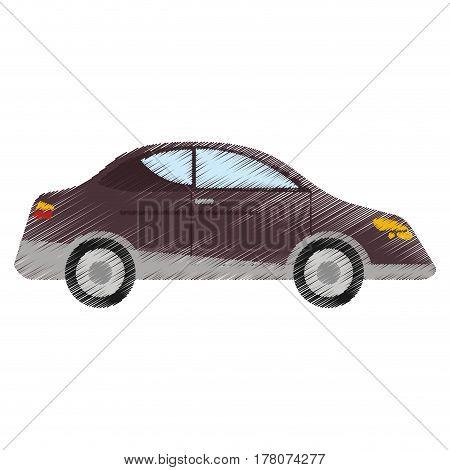 drawing car sedan vehicle transport vector illustration eps 10
