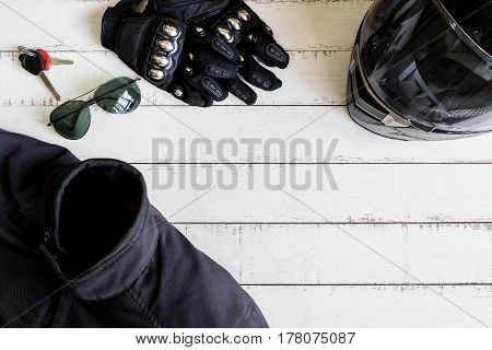 Outfit of Biker and accessories with copy space Ready to ride