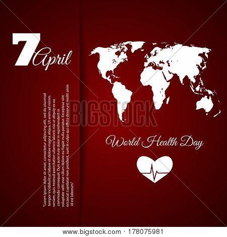 World Health Day Red Design Vector Illustration Eps 10