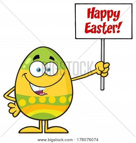 Colored Easter Egg Cartoon Mascot Character Holding A Blank Sign. Illustration Isolated On White Background With Text Happy Easter