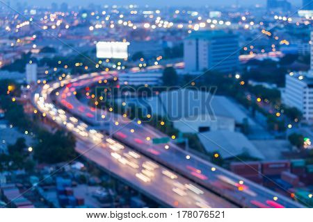 Abstract blurred bokeh city road night view abstract background