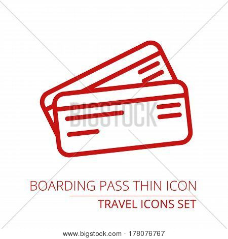 Boarding pass thin icon illustration Part of travel icons set
