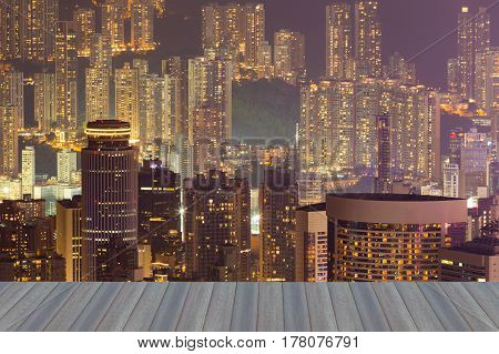 Opening wooden floor Hong Kong city residence apartment building night view