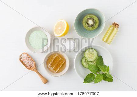 Herbal Dermatology Cosmetic Hygienic Cream For Beauty And Skincare Product. Honey, Lemon, Kiwi, Cucu