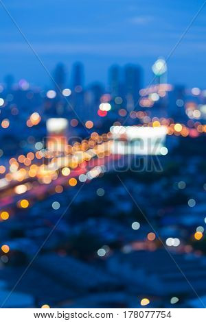 Abstract blurred bokeh city light at twilight abstract background