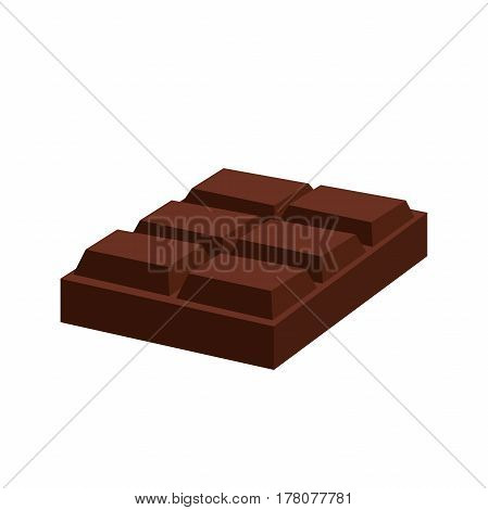 Chocolate bar. Cacao dessert. Sweet milky product. Cartoon flat style.