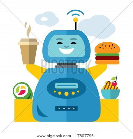 Cyborg holding a hamburger and hot drink. Isolated on a white background