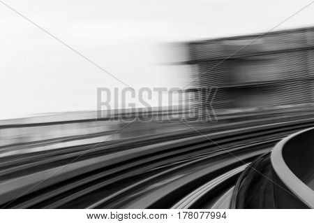 Black and White blurred motion train moving abstract background