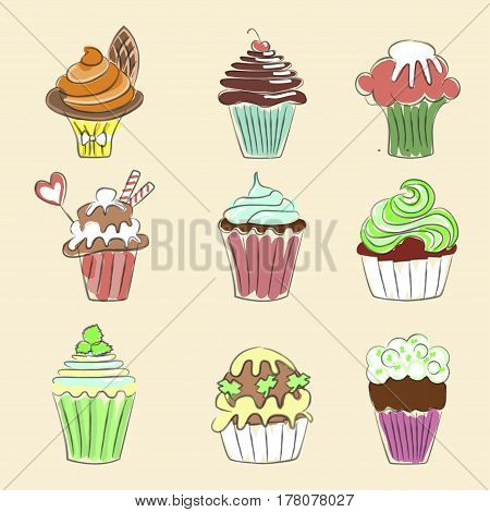 Collection of Hand drawn cupcakes, sketch style. Isolated on white background. Pastel colors. Vector illustration eps 10
