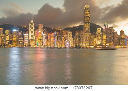 Blurred bokeh light Hong Kong city downtown abstract background