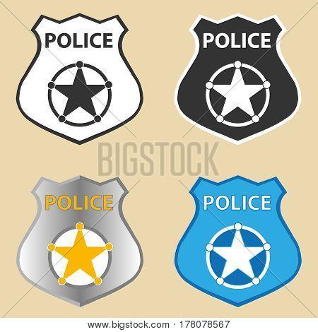 Police badge. Flat design vector illustration vector.