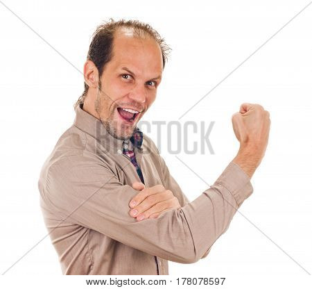 Happy smiling man showing rude gesture on white background