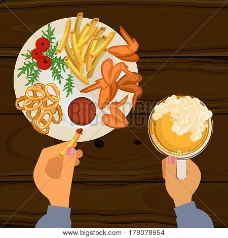 Fast food with grilled wings, french fries, onion rings and glass of beer. Top view vector illustration eps 10
