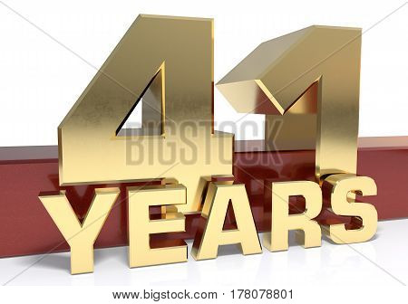 Golden digit forty one and the word of the year. 3D illustration