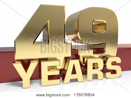 Golden digit forty nine and the word of the year. 3D illustration
