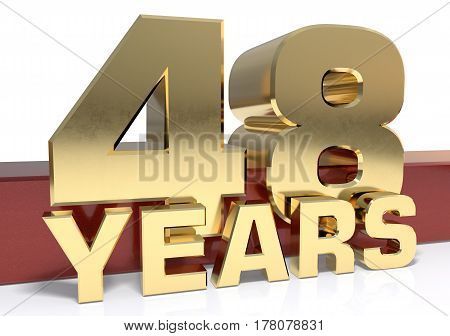 Golden digit forty eight and the word of the year. 3D illustration