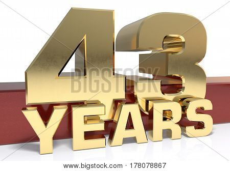 Golden digit forty three and the word of the year. 3D illustration
